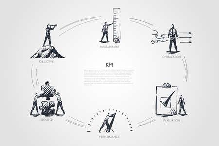 KPI - measurement, optimization, evaluation, perfomance, strategy concept. Hand drawn isolated vector. Ilustração