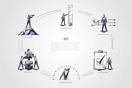 KPI - measurement, optimization, evaluation, perfomance, strategy concept. Hand drawn isolated vector. Illustration