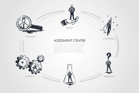 Assesment center - competence, test, personality, suitability, recruit concept. Hand drawn isolated vector.