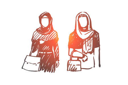 Muslim woman, Arab, Islam, hijab concept. Hand drawn two muslim women on shopping concept sketch. Isolated vector illustration.