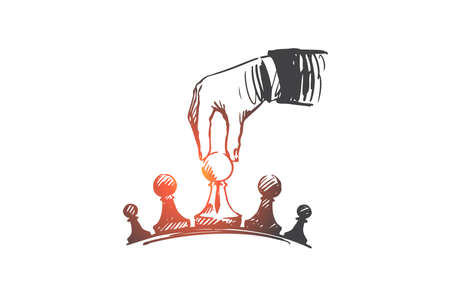 Strategy, businessman, tactics, superiority concept. Hand drawn businessmans hand playing chess concept sketch. Isolated vector illustration. Stock Illustratie