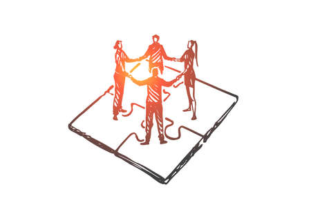 Teamwork, marketing, strategy, business, communication concept. Hand drawn co-workers hold hands each other concept sketch. Isolated vector illustration.