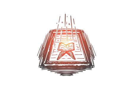 Islam, Koran, prayer, holy book, muslim concept. Hand drawn Koran, muslim holy book concept sketch. Isolated vector illustration