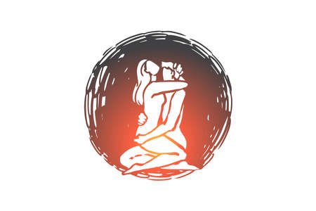 Relationship, sex, Kamasutra, man, woman concept. Hand drawn man and woman have sex security concept sketch. Isolated vector illustration.