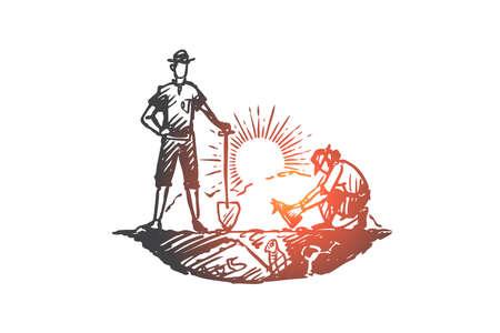 Arqueología, antigua, suerte, artefactos, concepto fósil. Los arqueólogos dibujados a mano han encontrado el esqueleto del bosquejo del concepto de animales antiguos. Ilustración de vector aislado. Logos