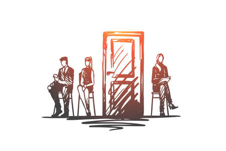 Consultation, testing, candidate, recruiting concept. Hand drawn people in office before testing concept sketch. Isolated vector illustration. Vecteurs