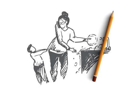 Multitasking-Frauenkonzept. Handgezeichnete Frau, die viele Hausaufgaben erledigt, während sie sich um den kleinen Sohn kümmert, isolierte Vektorgrafik. Isolierte Vektor-Illustration.