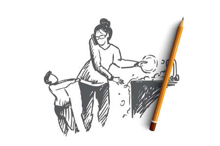 Multitasking woman concept. Hand drawn woman doing many home tasks while taking care of of little son isolated vector illustration. Isolated vector illustration.