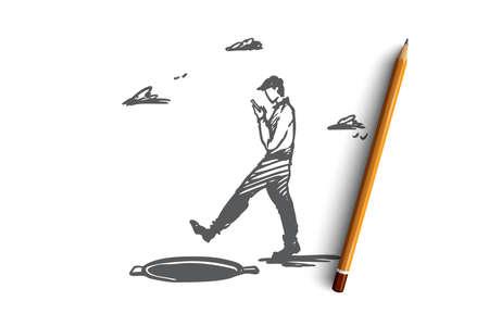 Danger, jeu, marche, trappe, concept d'attention. Homme dessiné à la main avec un gadget et croquis de concept de trappe ouverte. Illustration vectorielle isolé.