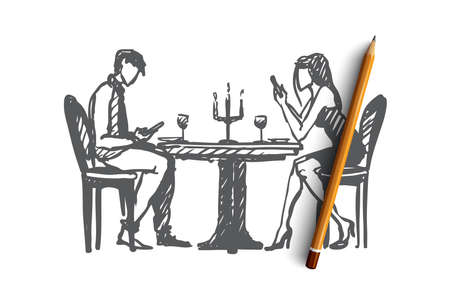 Network addicted concept. Hand drawn young couple in a cafe pay more attention to their phones than each other isolated vector illustration. Isolated vector illustration.