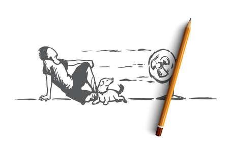 Été, chaud, homme, concept de chien. Homme dessiné à la main portant sur le sol avec un chien et profiter du vent froid de l'esquisse de concept de ventilateur électrique. Illustration vectorielle isolé. Vecteurs