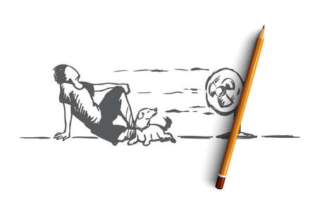 Summer, hot, man, dog concept. Hand drawn man laying on floor with dog and enjoy cold wind from electric fan concept sketch. Isolated vector illustration. Vetores