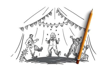 Arena, Zirkus, Clown, Showkonzept. Hand gezeichnete Clowns jonglieren zeigen Konzeptskizze. Isolierte Vektorillustration.