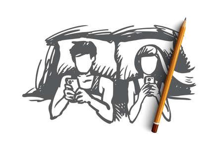 Pareja, cama, smartphone, concepto adicto. Pareja hombre y mujeres dibujados a mano se encuentran en la cama y mirando el boceto del concepto de teléfonos inteligentes. Ilustración de vector aislado.