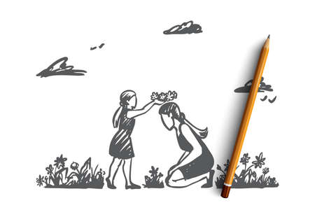 Mom, daughter, garden, happiness, family concept. Hand drawn mother and daughter playing in summer garden. Mother's day concept sketch. Isolated vector illustration. Vektorové ilustrace