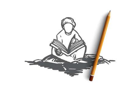 Muslim, Araber, Islam, Religion, Koran, Junge, Kinderkonzept. Hand gezeichneter muslimischer Junge, der Koran-Konzeptskizze sitzt und liest. Isolierte Vektorillustration.