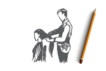 Model, professional hairdresser, beauty salon, trendy, concept. Hand drawn hairdresser with customer in salon concept sketch. Isolated vector illustration.
