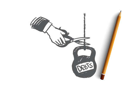 Debts, credit, money, bank, tax concept. Hand drawn human's hand cut weight with debt concept sketch. Isolated vector illustration.