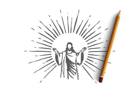 God, Jesus christ, grace, good, ascension concept. Hand drawn silhouette of Jesus christ, the son of god concept sketch. Isolated vector illustration. Illustration