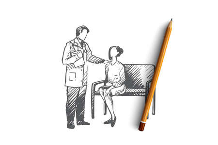 Diagnosis, doctor, patient, oncology, clinic concept. Hand drawn doctor talks with a female patient in hospital concept sketch. Isolated vector illustration. Illustration