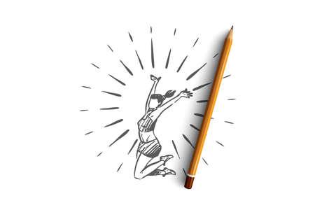 Lebensstil, gesund, Sport, Glückskonzept. Hand gezeichnete glückliche gesunde Frau, die Konzeptskizze springt. Isolierte Vektorillustration. Vektorgrafik