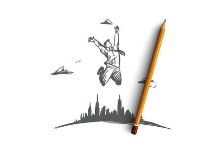 Freedom, businessman, work, happy, free concept. Hand drawn businessman jumping far from city concept sketch. Isolated vector illustration. Illustration