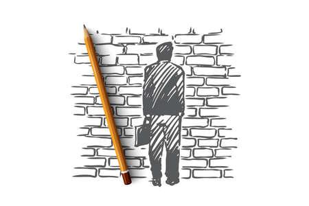 Vicolo cieco, problema, impasse, riflettere sul concetto. Uomo disegnato a mano stare davanti al muro di mattoni, simbolo dello schizzo del concetto di vicolo cieco. Illustrazione vettoriale isolato. Vettoriali