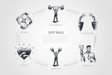 Soft skills, self-confidence, personality, assertiveness, team spirit vector set Иллюстрация