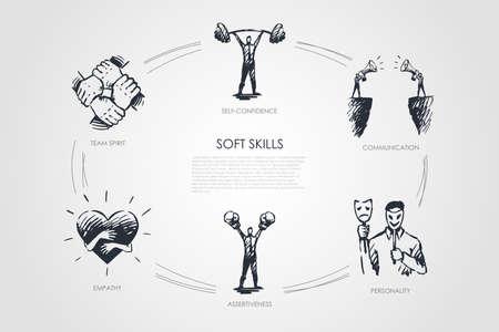 Soft skills, self-confidence, personality, assertiveness, team spirit vector set Illustration