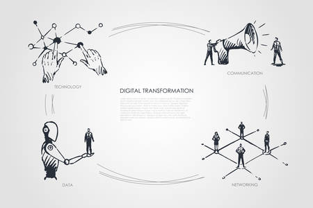 Digital transformation, technology, communication, networking, data vector set