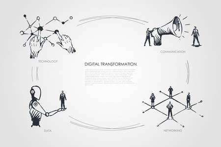 Digital transformation, technology, communication, networking, data vector set