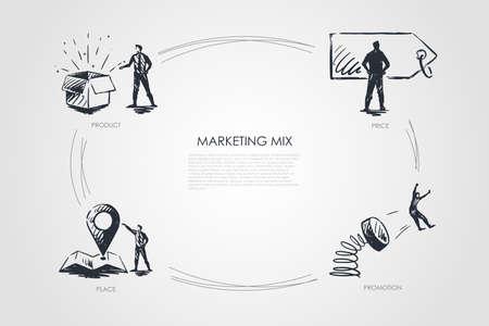 Marketing Mix, precio, promoción, lugar, conjunto de vectores de productos
