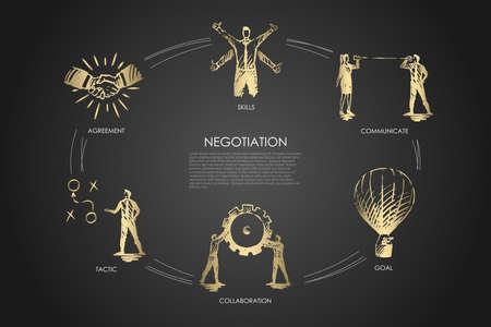 Onderhandeling - vaardigheden, doel, tactiek, communiceren, samenwerkingsconcept. Hand getekend geïsoleerde vector.