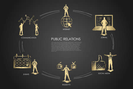 Public relations - communication, jornal, radio and tv, social media, events set concept. Hand drawn isolated vector