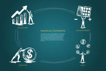 Financial statemens, income statements, equiti, cash flows, balance sheet