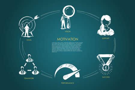 Motivation, vision, support, success, goal, performance concept vector set