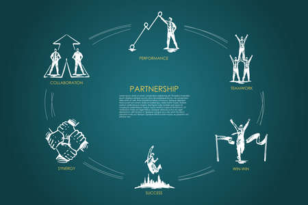 Partnership - teamwork, win-win, collaboration, performance, synergy set concept. Hand drawn isolated vector.