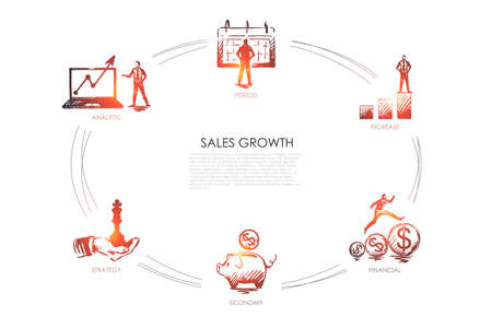 Sales growth - analytic, period, increase, economy, strategy set concept. Hand drawn isolated vector