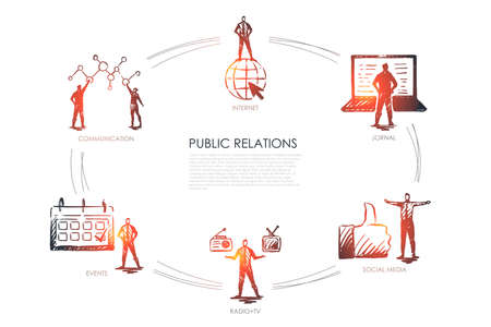 Relaciones públicas: comunicación, jornal, radio y televisión, redes sociales, concepto de conjunto de eventos. Vector aislado dibujado a mano