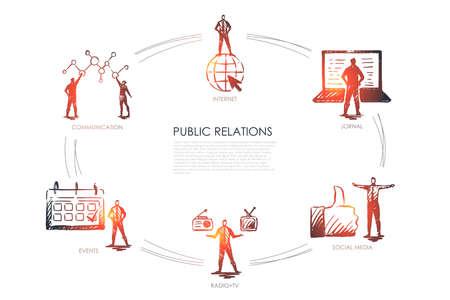 Relations publiques - communication, jornal, radio et télévision, médias sociaux, concept de jeu d'événements. Vecteur isolé dessiné à la main