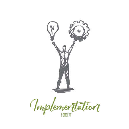 Implementation, man, idea, business, cogwheel concept. Hand drawn man take in hands light bulb and cogwheel concept sketch. Isolated vector illustration. Ilustração