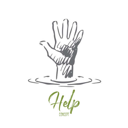 Help, hand, human, friendship, support concept. Hand drawn human hand ask for help concept sketch. Isolated vector illustration.