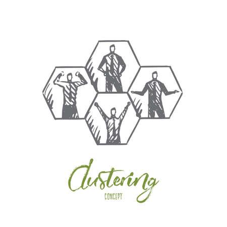 Cluster, données, système, technologie, concept humain. Hommes dessinés à la main dans l'esquisse de concept de cellules. Illustration vectorielle isolé.