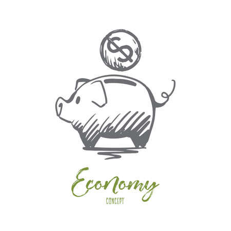 Economy, financial, bank, coin concept. Hand drawn pig and coin with symbol of dollar concept sketch. Isolated vector illustration.