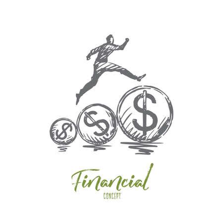 Financiero, dinero, crecimiento, beneficio, concepto de pago. Persona dibujada mano corriendo en el bosquejo del concepto de monedas de dólar. Ilustración de vector aislado.