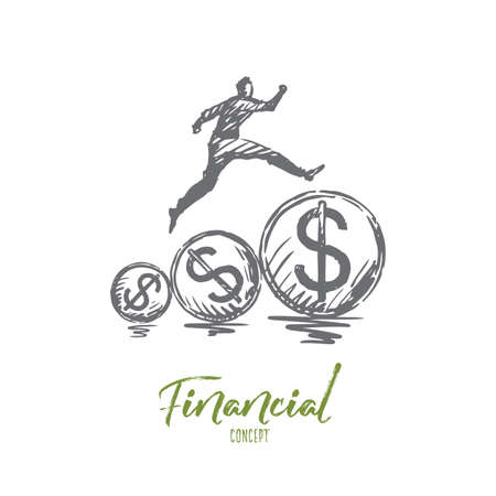 Financial, money, growth, profit, payment concept. Hand drawn person running on dollar coins concept sketch. Isolated vector illustration.