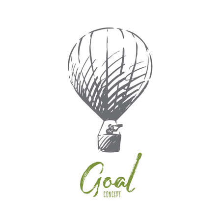 Target, goal, strategy, success concept. Hand drawn man with spyglass on the air balloon concept sketch. Isolated vector illustration. Ilustração