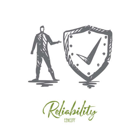 Reliability, safety, protect, secure, guard concept. Hand drawn person with protection shield concept sketch. Isolated vector illustration. Illustration
