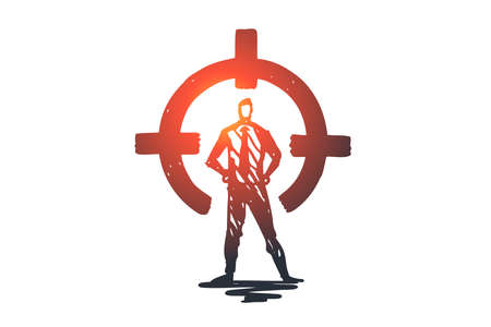 Control, rear sight, aim, target, circle concept. Hand drawn person in suit on rear sight concept sketch. Isolated vector illustration.