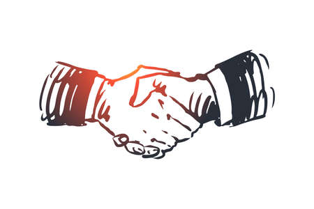 Commitment, hand, deal, business, partnership concept. Hand drawn hand shaking concept sketch. Isolated vector illustration. Vecteurs